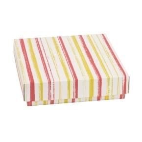 Darčeková krabička s vekom 200x200x50 mm, VZOR - PRUHY koralová/žltá