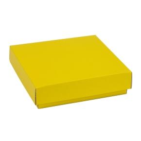 Darčeková krabička s vekom 200x200x50 mm, žltá