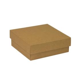 Darčeková krabička s vekom 200x200x70 mm, hnedá - kraft