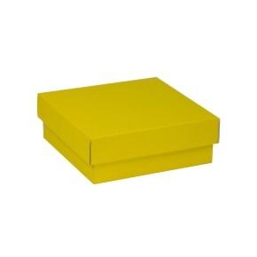 Darčeková krabička s vekom 200x200x70 mm, žltá