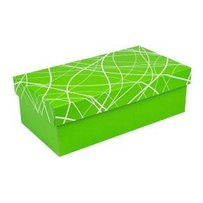 Darčeková krabička s vekom 250x170x110/35 mm, zelená so vzorom na veku