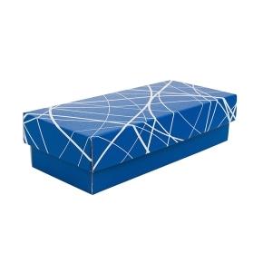 Darčeková krabička s vekom 280x130x80/35 mm, modrá so vzorom na veku