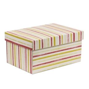 Darčeková krabička s vekom 300x200x150/40 mm, VZOR - PRUHY korálová/žltá