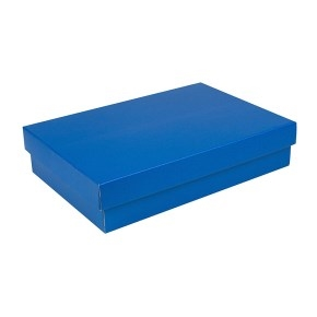 Darčeková krabička s vekom 330x220x70/35 mm, modrá matná