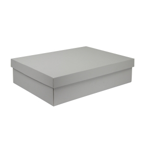 Darčeková krabička s vekom 405x290x100/35 mm, šedá matná