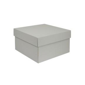 Darčeková, úložná krabička s vekom 250x250x150/35 mm, šedá matná