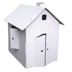 Kartónový domček z päťvrstvovej vlnitej lepenky, 920x630x950 mm, biely