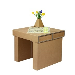 Kartónový konferenčný stôl, 700x700x620 mm, hnedý