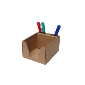 Kartónový stojan na ceruzky a blok 105x105x80 mm, hnedý kraft