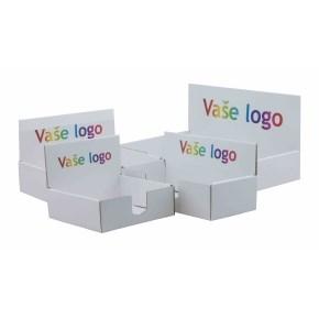 Kartónový stojan na prospekty 220x110x60 mm, biely pre formát 1/3 A4 s vlastným logom