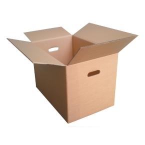 Klopová sťahovacia krabica 585x385x300, s vyseknutými otvormi pre ruky