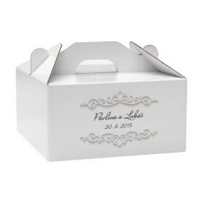 Krabica 140 x 140 x 70 na potraviny, výslužky, cukrovinky, tlač mien a dátumu svadby
