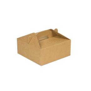Krabica 160 x 160 x 80 na potraviny, výslužky, cukrovinky, hnedá - kraft
