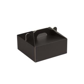 Krabica 190x190x80 mm na potraviny, výslužky, cukrovinky, čierna