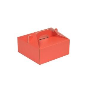 Krabica 190x190x80 mm na potraviny, výslužky, cukrovinky, koralová