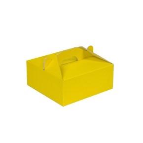 Krabica 190x190x80 mm na potraviny, výslužky, cukrovinky, žltá
