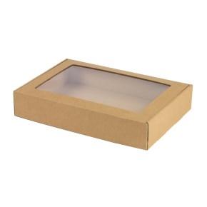 Krabica na cukrovinky s priehľadným okienkom 320x220x60 mm, hnedá - kraft