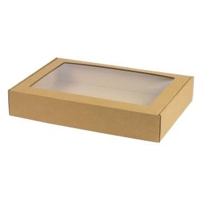 Krabica na cukrovinky s priehľadným okienkom 400x280x70 mm, hnedá - kraft
