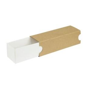 Krabička na makrónky 180x50x50mm, biele dno, hnedý návlek