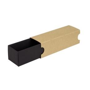 Krabička na makrónky 180x50x50mm, čierne dno, hnedý návlek