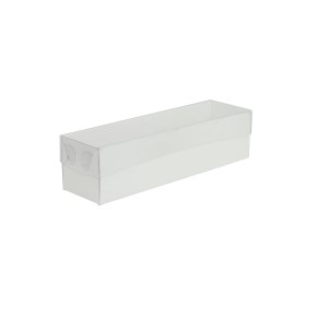 Krabička na makrónky biela s priehľadným vekom 180x50x50mm