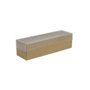 Krabička na makrónky hnedá s priehľadným vekom 180x50x50mm