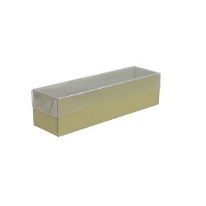 Krabička na makrónky zlatá s priehľadným vekom 180x50x50mm