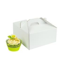 Odnosná krabička na 4 muffiny/cupcakes biela s vložkou