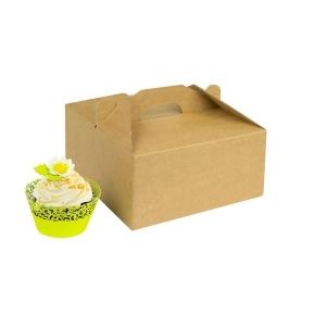 Odnosná krabička na 4 muffiny/cupcakes s vložkou, hnedá - kraftová