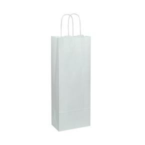 Papierová taška 150x80x400 mm, biela na fľašu vína