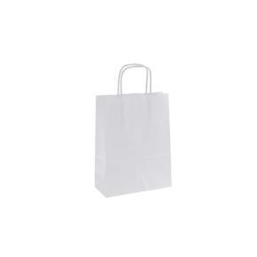 Papierová taška s krúteným uchom 180x80x240 mm, biela
