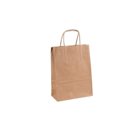 Papierová taška s krúteným uchom 180x80x240 mm, kraft