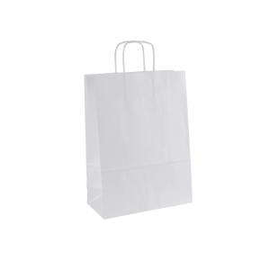 Papierová taška s krúteným uchom 220x110x295 mm, biela