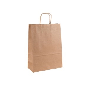Papierová taška s krúteným uchom 220x110x295 mm, kraft