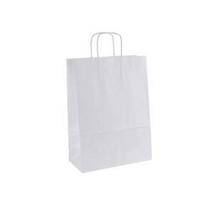 Papierová taška s krúteným uchom 240x110x330 mm, biela