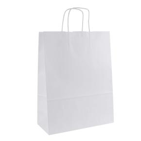 Papierová taška s krúteným uchom 320x140x420 mm, biela