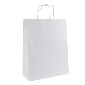 Papierová taška s krúteným uchom 320x170x425 mm, biela