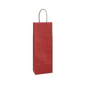 Papierová taška s krúteným uchom na víno 140x80x390 mm, červená