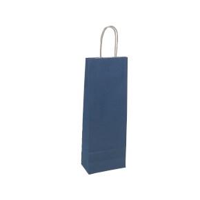 Papierová taška s krúteným uchom na víno 140x80x390 mm, modrá