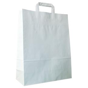 Papierová taška s plochým uchom 220x110x295 mm, biela