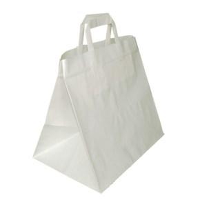 Papierová taška s plochým uchom 320x220x240 mm, biela