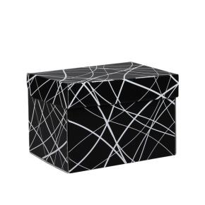 Úložná krabica 205x150x140 mm, čierno šedá so vzorom