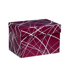 Úložná krabica 205x150x140 mm, vínová se vzorem matná