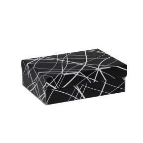 Úložná krabica 205x150x65 mm, čierno šedá so vzorom