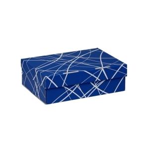 Úložná krabica 205x150x65 mm, modrá so vzorom