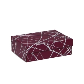 Úložná krabica 205x150x65 mm, vínová so vzorom matná