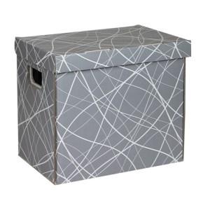 Úložná krabica 330x220x300 mm, šedá so vzorom