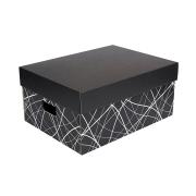 778603fc6 Úložná krabica komplet 430x300x200 mm, čierno-sivá, dno so vzorom