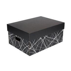Úložná krabica komplet 430x300x200 mm, čierno-sivá, dno so vzorom