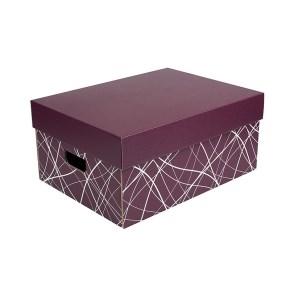 Úložná krabica komplet 430x300x200 mm, vínová, dno so vzorom